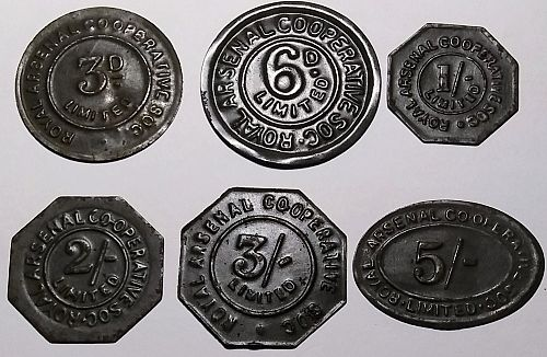 LOT OF 9 DIFFERENT GREAT BRITAIN ROYAL ARSENAL CO-OP TOKENS