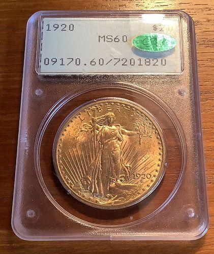 1920 $20 SAINT GAUDENS GOLD DOUBLE EAGLE