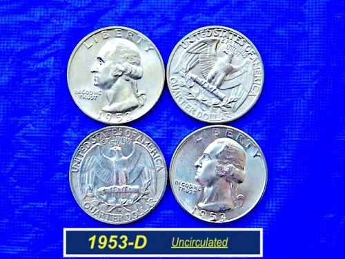 "1953-D SILVER Washington ⭐️ Uncirculated ""MS-60/61""  ⭐️  (2965a)"