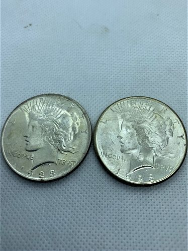 Two Peace Silver Dollars 1923 ~1923S