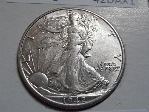 1942 D Walking Liberty Half  Dollar, 90% Silver Coin,  (42DAX1)
