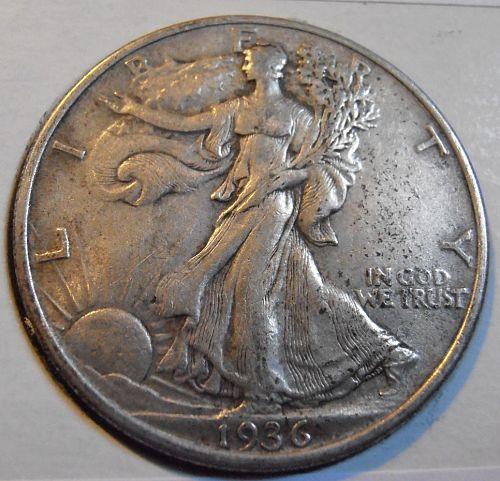 1936 P Walking Liberty Half  Dollar, 90% Silver Coin, (36PAX1)