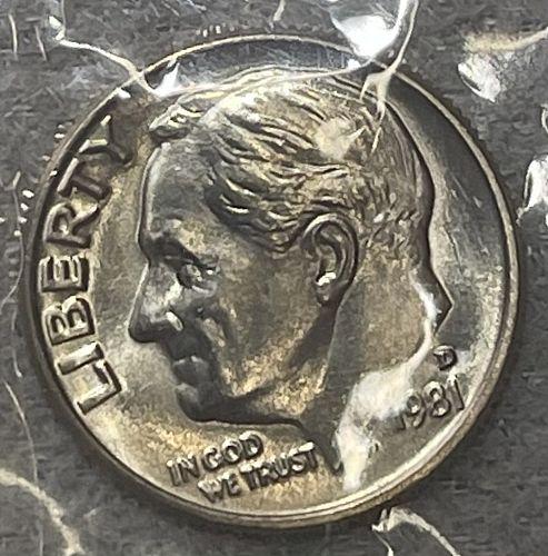 1981-D CHBU+ (Uncirculated Mint Set) Roosevelt US Dime