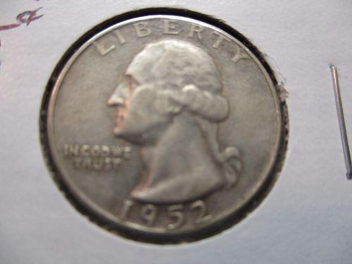 1952-D  VF20 Washington Quarter.  Item: 25 W52D-04.
