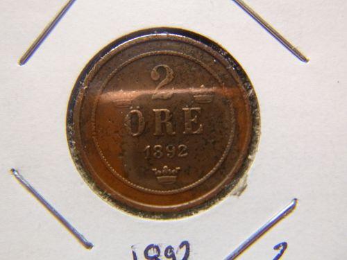 SWEDEN 1892 2 Öre - Oscar II large letters