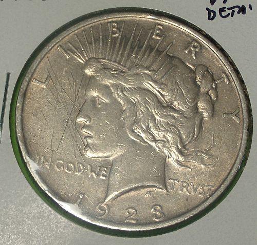 1923 Peace Dollar  VF Details  #$-1923-7