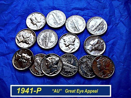 "1941-P  Mercury Dime ⭐️ Full Upper/Lower Bands ⭐️ ""AU-58"" ⭐️(3989"