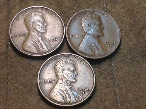 1935 P-D-S Lincoln Cents