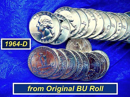 "1964-D ""BU"" Silver Quarter ⭐️ from Original Bank Roll ⭐️ (R8425.1)"