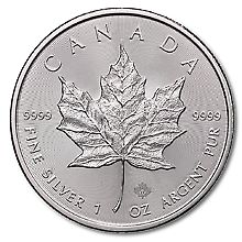Canadian $5 Maple Leaf 2011 or 2012-1 Troy OZ (1 coin per LOT) .999