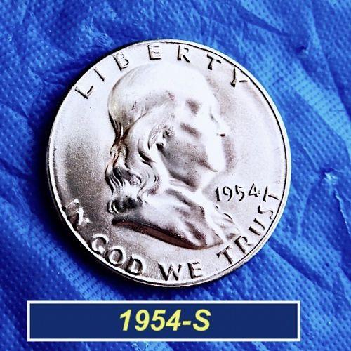 """1954-S  """"BU"""" Franklin Half Dollar ⭐️ Mint Luster ⭐️ MS-64+⭐️ (1947b)"""