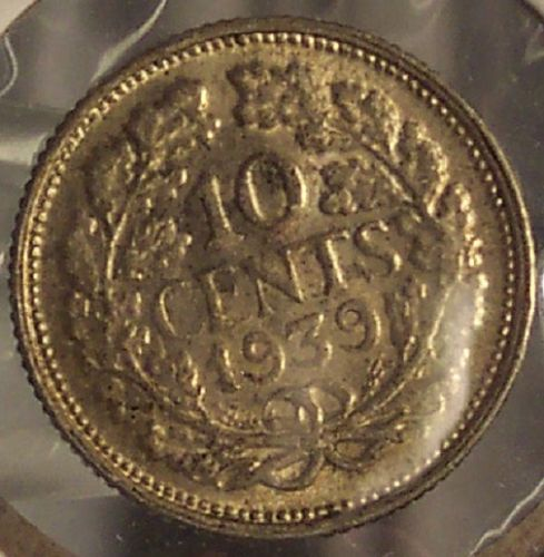 KM# 163 1939 Netherlands Silver 10c AU #0193