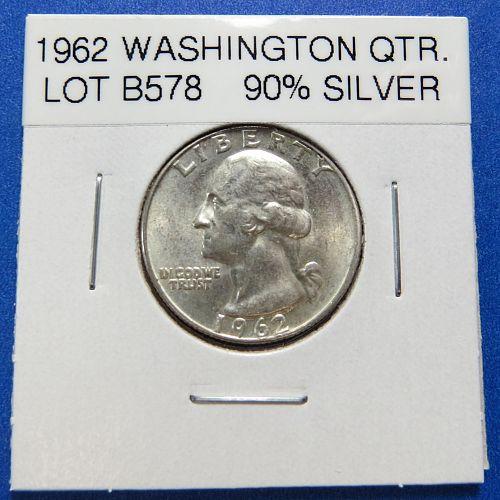 1962  WASHINGTON SILVER QUARTER (90% SILVER) ~ VERY NICE ~ LOT B578
