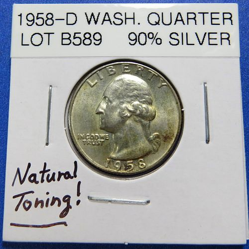 1958-D  WASHINGTON SILVER QUARTER (90% SILVER) ~ NATURAL TONING ~ LOT B588