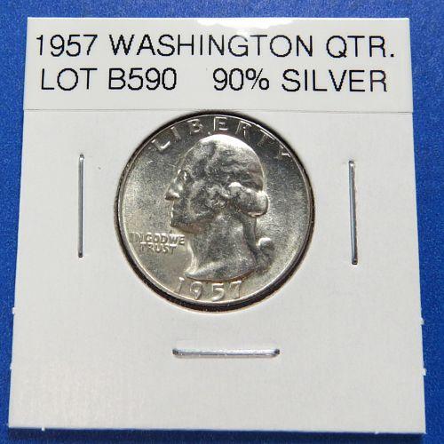 1957  WASHINGTON SILVER QUARTER (90% SILVER) ~ HIGHER GRADE ~ LOT B590