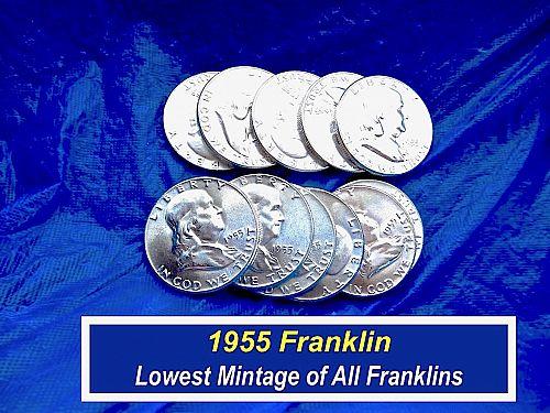 "1955 Franklin Half Dollar ⭐️ ""MS-63/64"" Uncirculated ⭐️  (1902.S)"
