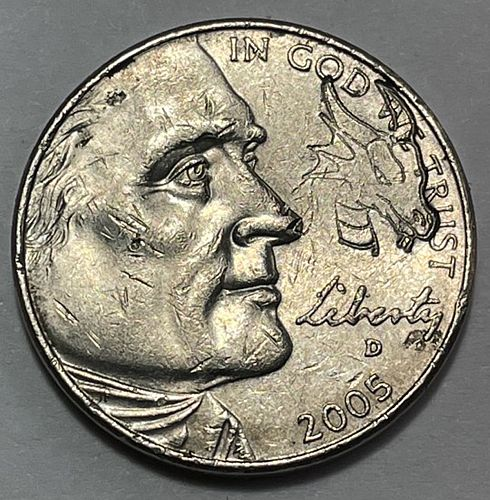 """2005 D Jefferson Nickels : American Bison """"Hobo"""" Dragon coin 31223"""