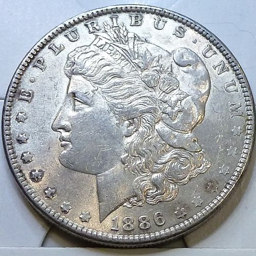 1886-P About Uncirculated Morgan Silver Dollar # N-50