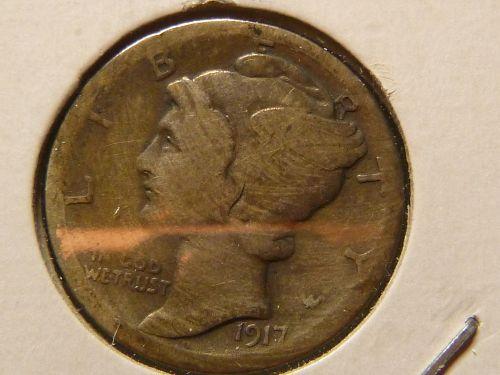 1917 S Mercury Dimes