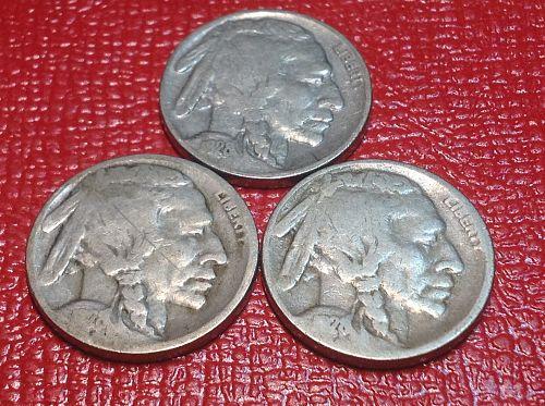 1928 P-D-S Buffalo Nickels