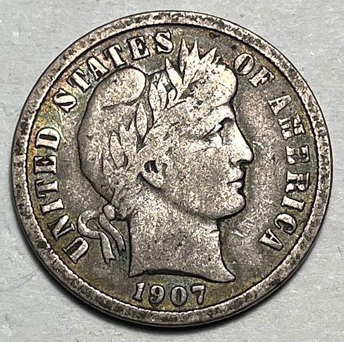 1907 Barber Dimes. 31244