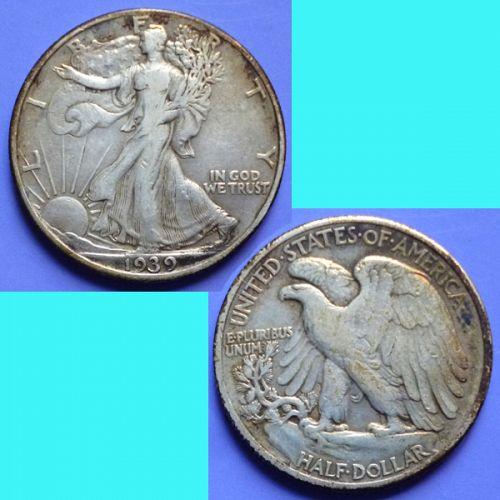 US USA United States of America Walking Liberty Half Dollar 1939 P km 142 silver