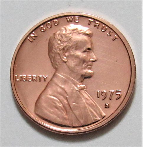 1975-S 1 Cent - Lincoln Memorial Cent - Cameo Proof