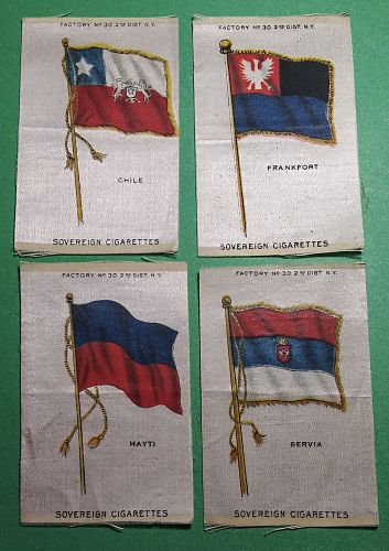 LOT OF 4 DIFFERENT VINTAGE TOBACCO SILKS --- FLAGS