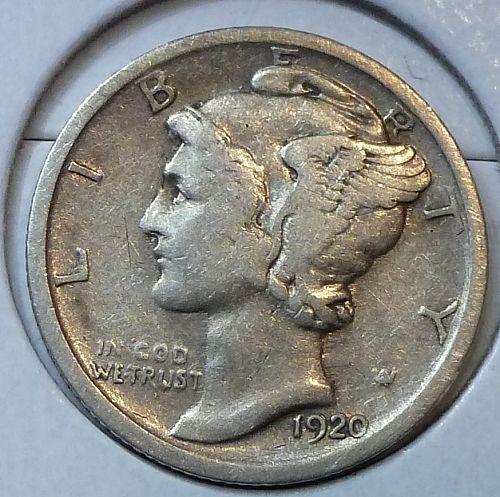 1920-P Very Fine Mercury Dime   ( 672)