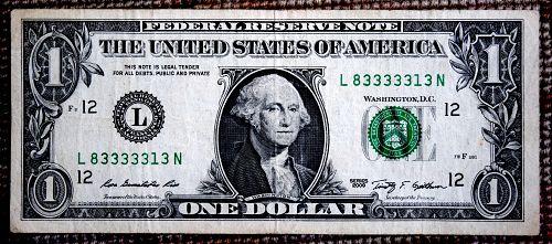 2009  DOLLAR  NUMBER L 83333313 N CIRCULATED 5 CONSECUTIVE 3