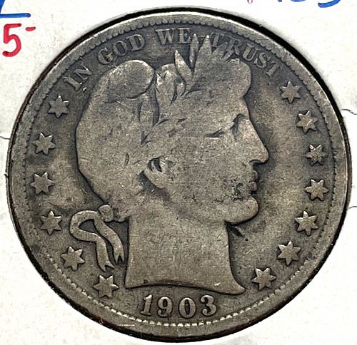 1903 Barber Half Dollars Early Silver Half Dollars.  31533