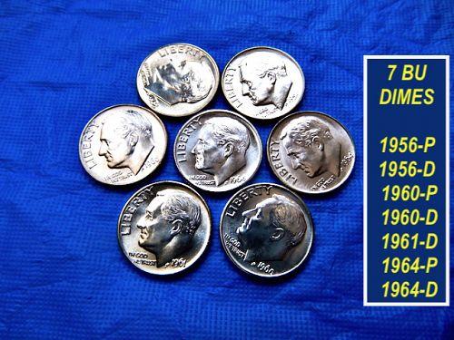 "7 Different ""BU"" Dimes  ⭐️  1956 thru 1964  ⭐️ (B3899)"