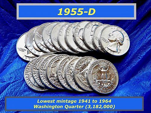 """1955-D  """"BU"""" WASHINGTON QUATER ⭐️ LOW 3.2 MIllion Mintage ⭐️  (2900)"""