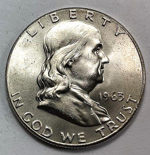 1963 Franklin Half Dollars. 31611