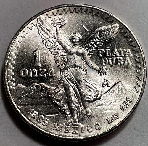 """1985 1 Onza """"Libertad""""Silver Bullion Coinage 1 OZ Silver. .999.    31631"""