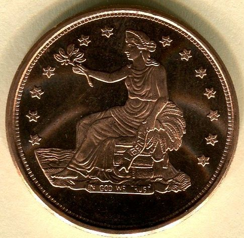 13 - 1 Ounce Pure .999 Copper Rounds - TRADE DOLLAR DESIGN