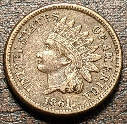 1861 XF INDIAN CENT