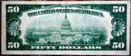 1928A GRANT $50 BANK OF CHICAGO REDEEMABLE IN GOLD CIRCULATED BILL