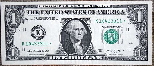2013 * STAR $1.00 BILL VERY LOW NUMBER K 10433311 * CIRCULATED  AS SEEN IN PHO