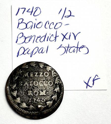 1740 Papal States 1/2 Baiocco - Sede Vacante