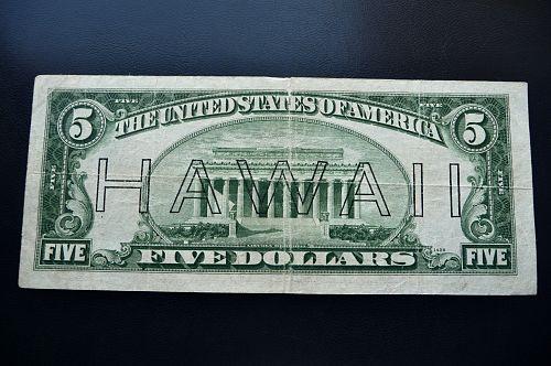 1934-A  $5.00 Hawaii overprint note