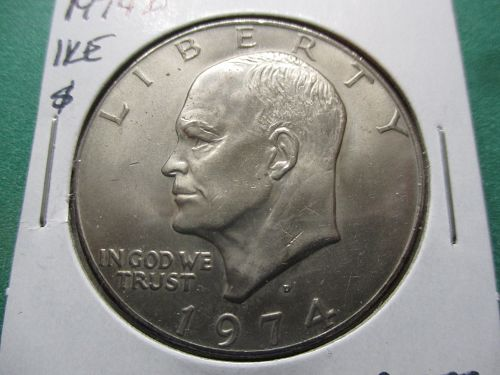 1974-D  AU58 Eisenhower Dollar.  Item: DI 74D-03.