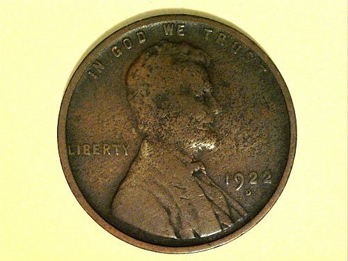 1922 D Lincoln Cent--some corrosion, weak reverse