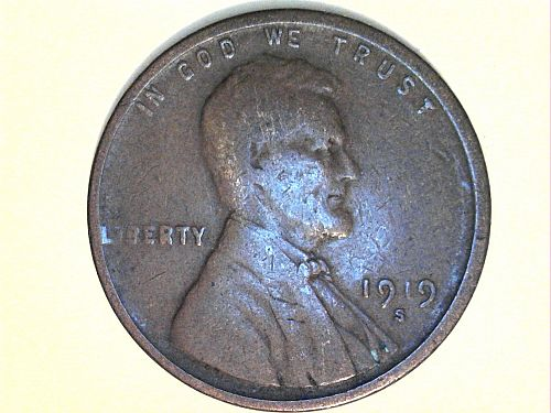 1919 S Lincoln Cent--Very Good
