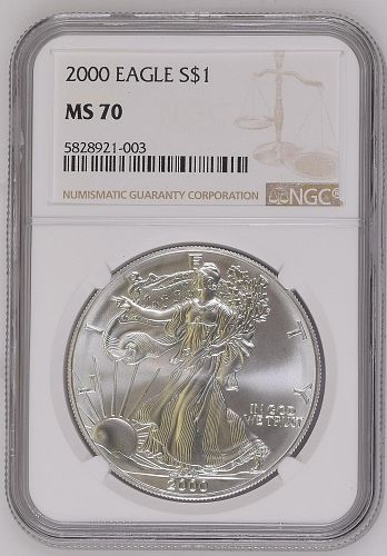 Rare 2000 American Silver Eagle $1 NGC MS70 Coin with Brown Label