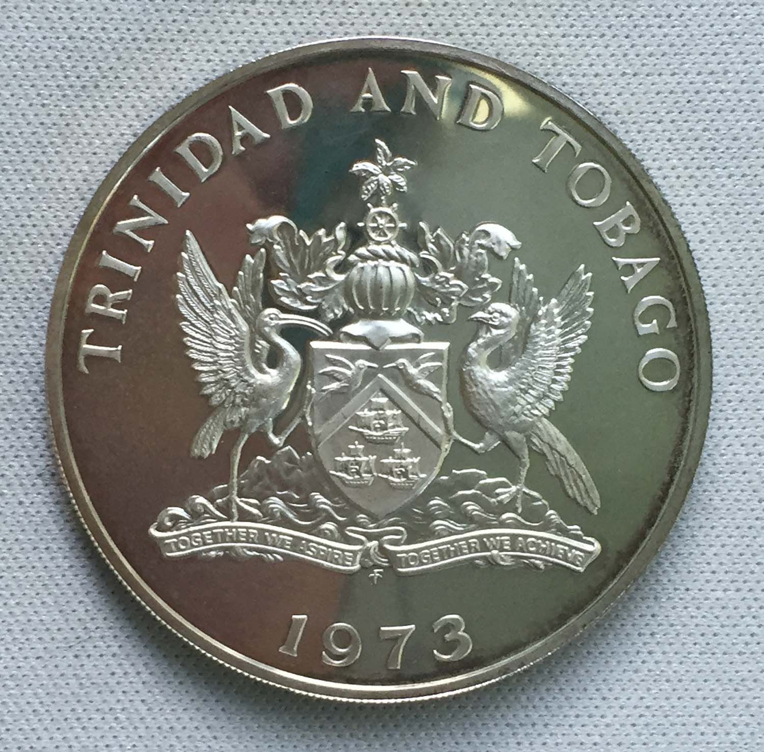 1973 Trinidad And Tobago 5 Dollars 925 Silver Coin