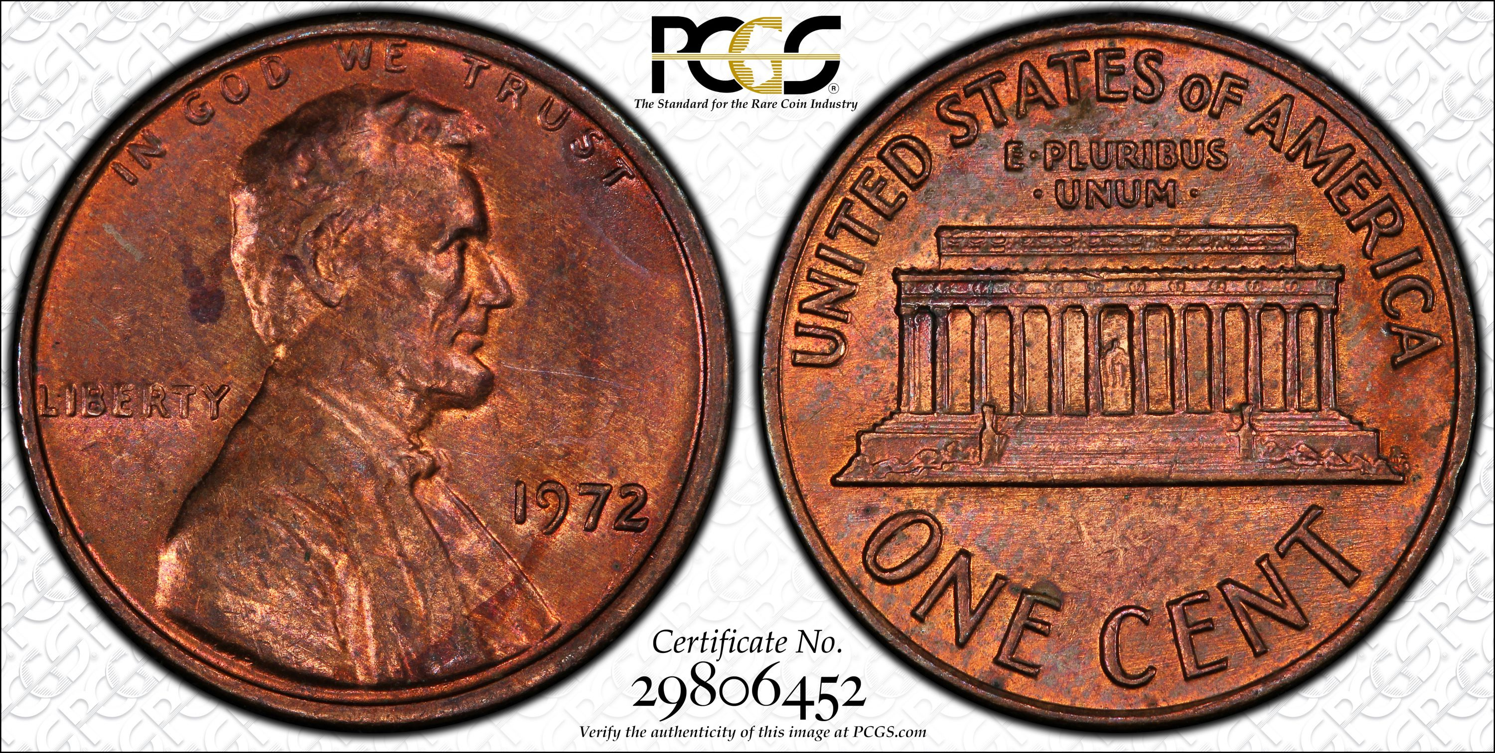 Extremely RARE mint error coin!! PCGS MS-63 RB 1972 1c Lincoln DDO FS-104  (033