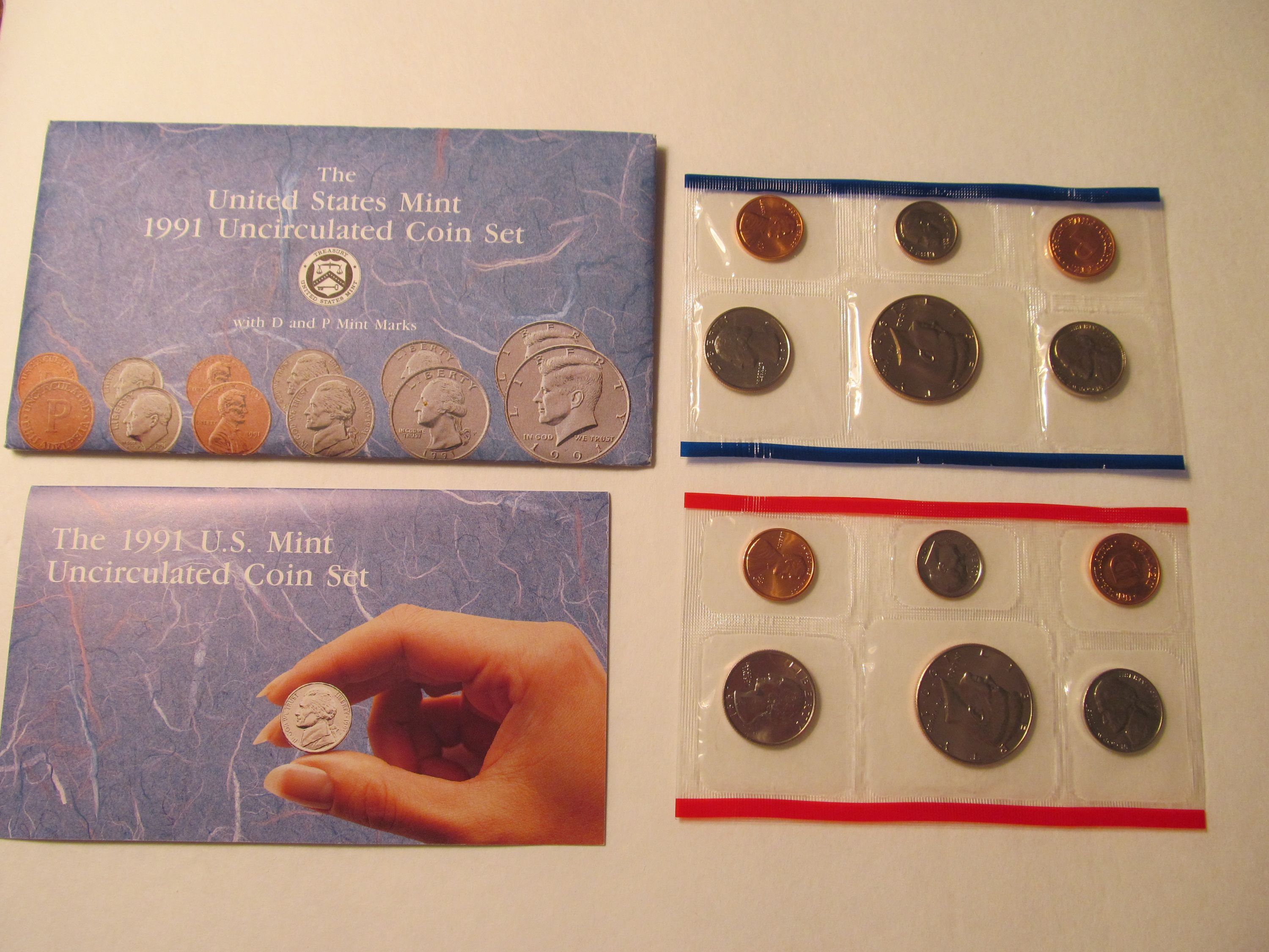 1991 US Mint P D Uncirculated 12 Coin Set Flat Packs in OGP ☆1 Set from Lot☆