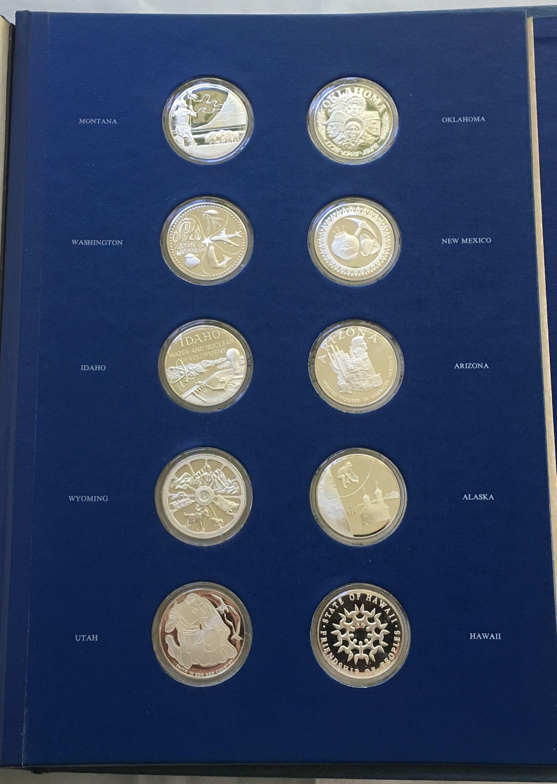 1976 franklin mint 50 state bicentennial silver medal