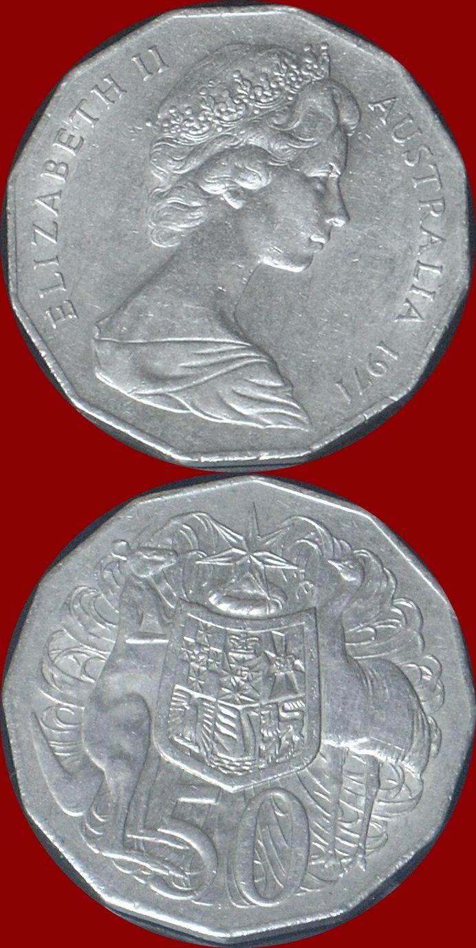 Coin Australia 1971 50 Cents Elizabeth Ii